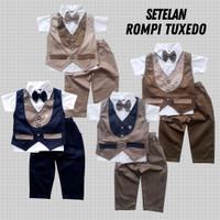 Baju Setelan Pesta Anak Bayi Laki Rompi Tuxedo Panjang Katun 6 Warna