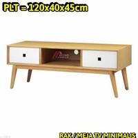 Meja Tv Rak Minimalis 120X40X45Cm Material Full Jati Belanda Epal