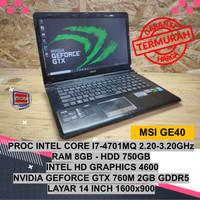 MSI GE40 CORE I7 4702MQ NVIDIA GEFORCE GTX 760M LAPTOP GAMING MURAH