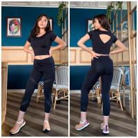 setelan olahraga wanita baju senam yoga zumba aerobik model croplubang