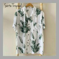 kemeja Hawaiian T-shirt Flower Tropical