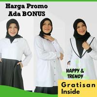 Baju Gamis Seragam Pemda PNS PDH Wanita Kerja Syari Busui Hitam Putih - Random, XS
