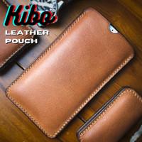 Leather Pouch HP SleeveCase iPhone 12,Pro Max (Bisa Custom Semua HP) - Cokelat