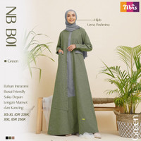 Gamis Nibras Dress Muslim Busana Wanita Dewasa NB B01 - Hitam, XS