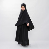 Bajuyuli - Baju Muslim Anak Perempuan Gamis Syar'i Polos Hitam WSBK01 - S