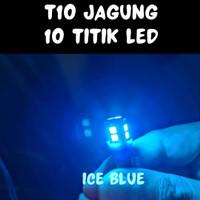 Lampu Senja Sen T10 Jagung 10 titik LED Motor dan Mobil - Ice Blue