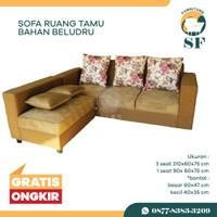 Sofa ruang tamu sofa L Bahan Beludru