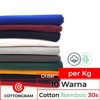 Kain Bahan Kaos Katun Bambu Kiloan 10 Warna Cotton Bamboo per Kg