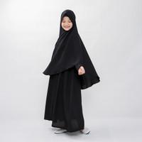 Bajuyuli - Baju Muslim Anak Perempuan Gamis Syar'i Polos Hitam WSBK01