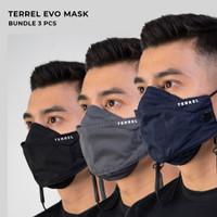 Terrel evo mask promo bundle 3 pcs masker kain non medis 3d strap