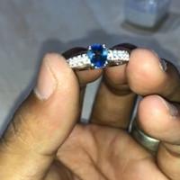 cincin batu akik blue safir emas putih