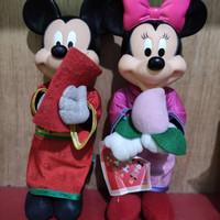 Boneka Mickey Minnie Mouse Hoki Maskot Set