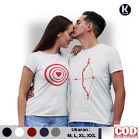 Kaos Distro Couple Love Target Lengan Pendek Fashion Baju Couple - Putih, XXL