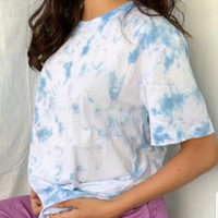 Kaos Tie Dye Wanita Slim Fit/ Kaos Korea Wanita / Slim Fit Wanita - Blue Sky
