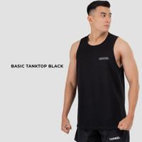 Terrel basic tanktop black sleeveless singlet pria gym running