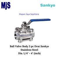 Ball Valve Screw Dia. 1/2 SANKYO 3 pc Body / Kran Drat SS316