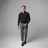 Boodis Kemeja Polos Pria Modern Limited Terbaru Gentle Black Long