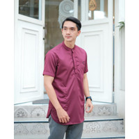 Baju Koko Kurta Muslim Pria Lengan Pendek Merah Maroon