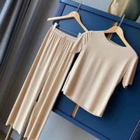 Piyama wanita lengan pendek celana panjang baju tidur korea murah lucu - creamy
