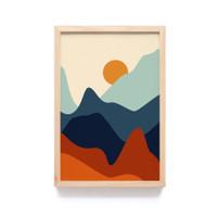 Wall Art Modern Simple Abstrak Minimalis Aesthetic Colorful Pegunungan - 041A, Frame Natural