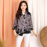 Baju Atasan Blouse Batik Wanita jumbo modern Katun Stretch fit M L XL - BLACK
