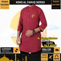 Baju Koko Laki Laki Dewasa Pakistan Faruq Distro Maroon PahajiFactory - Merah, XXL