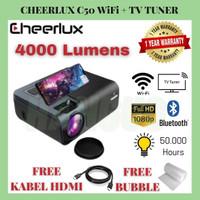 Cheerlux C50 WiFi TV Tuner | Mini Projector C50 4000 Lumens FHD 1080P