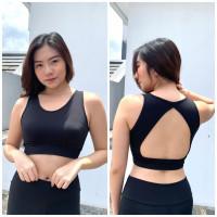 atasan olahraga wanita baju senam zumba yoga model bra crop lubang - Hitam
