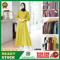 Baju Gamis Terbaru Remaja Kekinian Modern Wanita Dress Sarah Maxy DSM2 - Kuning, all size