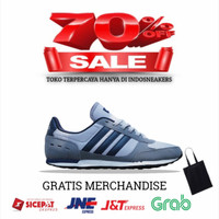 Adidas Neo City Racer Grey Black Original - Sepatu Running Pria - Abu-abu, 39