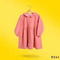 DRESS ANAK PEREMPUAN - CORDUROY DRESS - PADDY - KEBIKEBI - Merah Muda, M