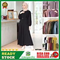 Baju Gamis Terbaru Remaja Kekinian Modern Wanita Dress Sarah Maxy DSM1 - Hitam, all size