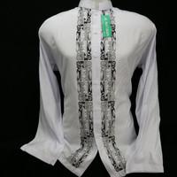 Busana Muslim Pria Dewasa Baju Koko Lengan Panjang Putih Bordir Hitam - Putih, XL