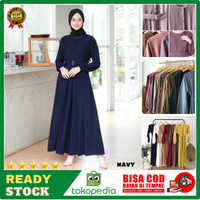 Baju Gamis Terbaru Remaja Kekinian Modern Wanita Dress Sarah Maxy DSM7 - Biru, all size