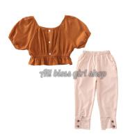 Setelan anak cewek modis baju dan celana /setelan santai WESTERN STYLE
