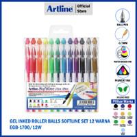PULPEN ARTLINE GEL INK 12 COLOURS SOFTLINE BALLPOINT PEN EGB-1700/12W