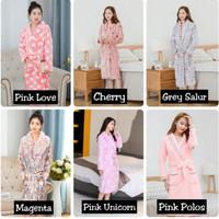 Baju handuk kimono wanita mandi dewasa Import korea - pink love, M