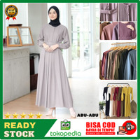 Baju Gamis Terbaru Remaja Kekinian Modern Wanita Dress Sarah Maxy DSM5 - Abu-abu, all size