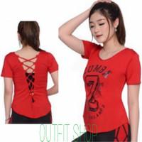 atasan zumba model anyam baju senam yoga fitness aerobik 6 warna - Merah