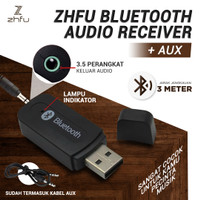 ZHFU BLUETOOTH RECEIVER USB WITH AUX 3.5 MM AUDIO JACK CAR MOBIL