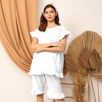 Setelan Baju Tidur Piyama Remaja Wanita kekinian Larasati Rempel - White