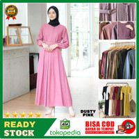 Baju Gamis Terbaru Remaja Kekinian Modern Wanita Dress Sarah Maxy DSM3 - Merah Muda, all size