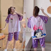 Piyama set wanita / baju tidur kaos / baju tidur import / baju santai - Ghibli Purple, L