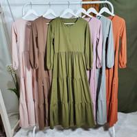Gamis Rumbai BUSUI Lengan Panjang Fashion Muslim Zalfa Fit L-XL - Cream
