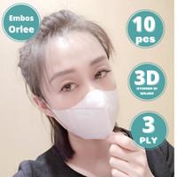 Masker Duckbill Embos Orlee 3ply Earloop Medis Kemenkes Isi 10 pcs