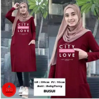 Atasan Tunik Wanita Muslim Jumbo Terbaru/Tunik LOVE CITY BUSUI - Maroon