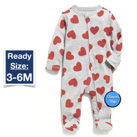 Old Navy Baby LS Footed One Piece Grey Red Hearts Branded Original - 3-6M