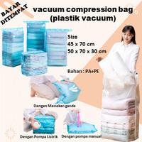 plastik vacum baju pakaian vacuum travel bag plastic bahan PA+PE