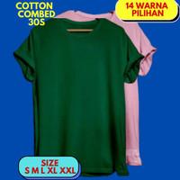 Baju kaos polos cewek cowok pria wanita remaja katun premium adem - Hijau Botol, S BB 40-50