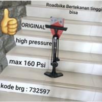 Pompa lantai Ban Sepeda Polygon Steel 160 psi dusl head tekanan tinggi
